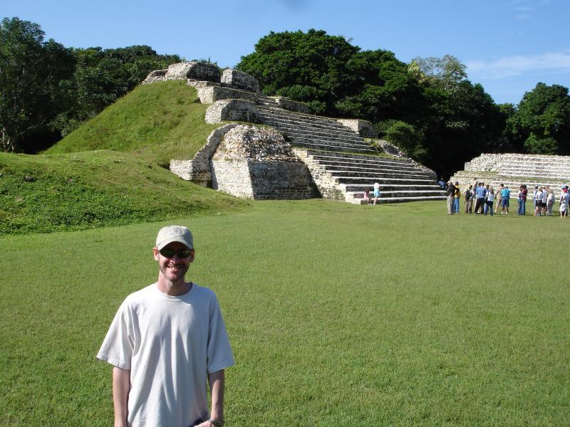 This picture was taken on Christmas Day, 2005, at Altun Ha in Belize. He climbed